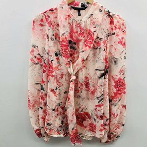 White House Black Market Floral Tie Blouse 687